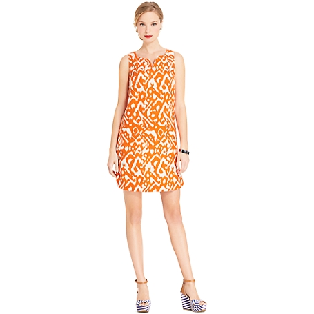 Hilfiger Orange Ikat Print Trend Dress
