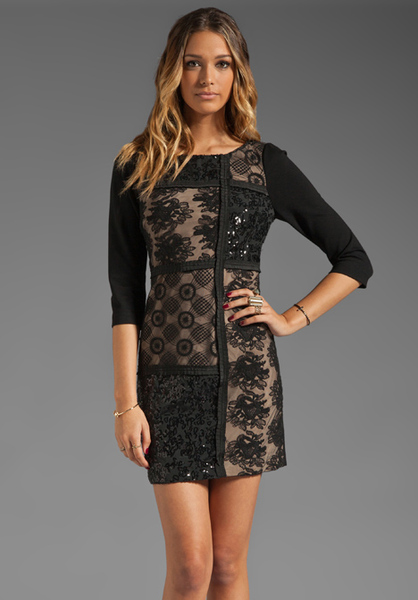 Black Patchwork lace shift