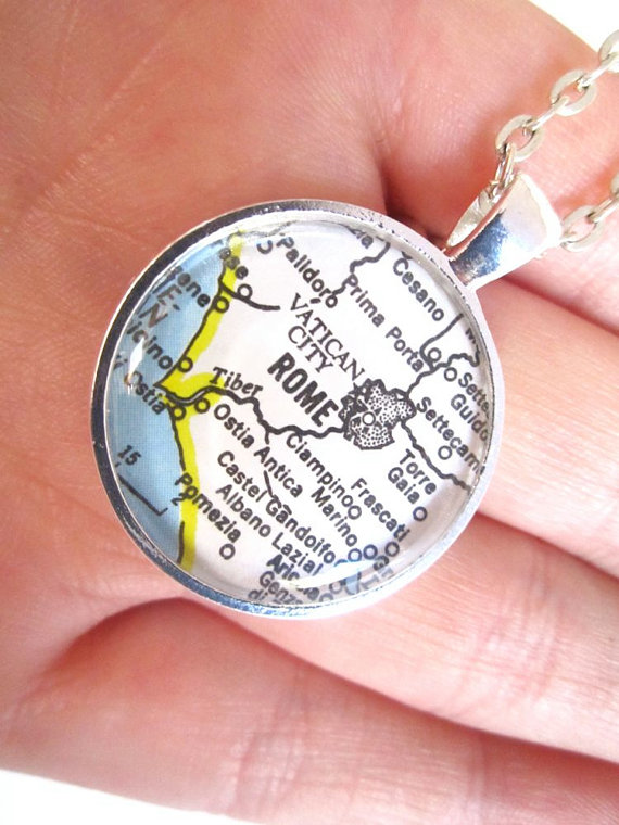 Custom map necklaces