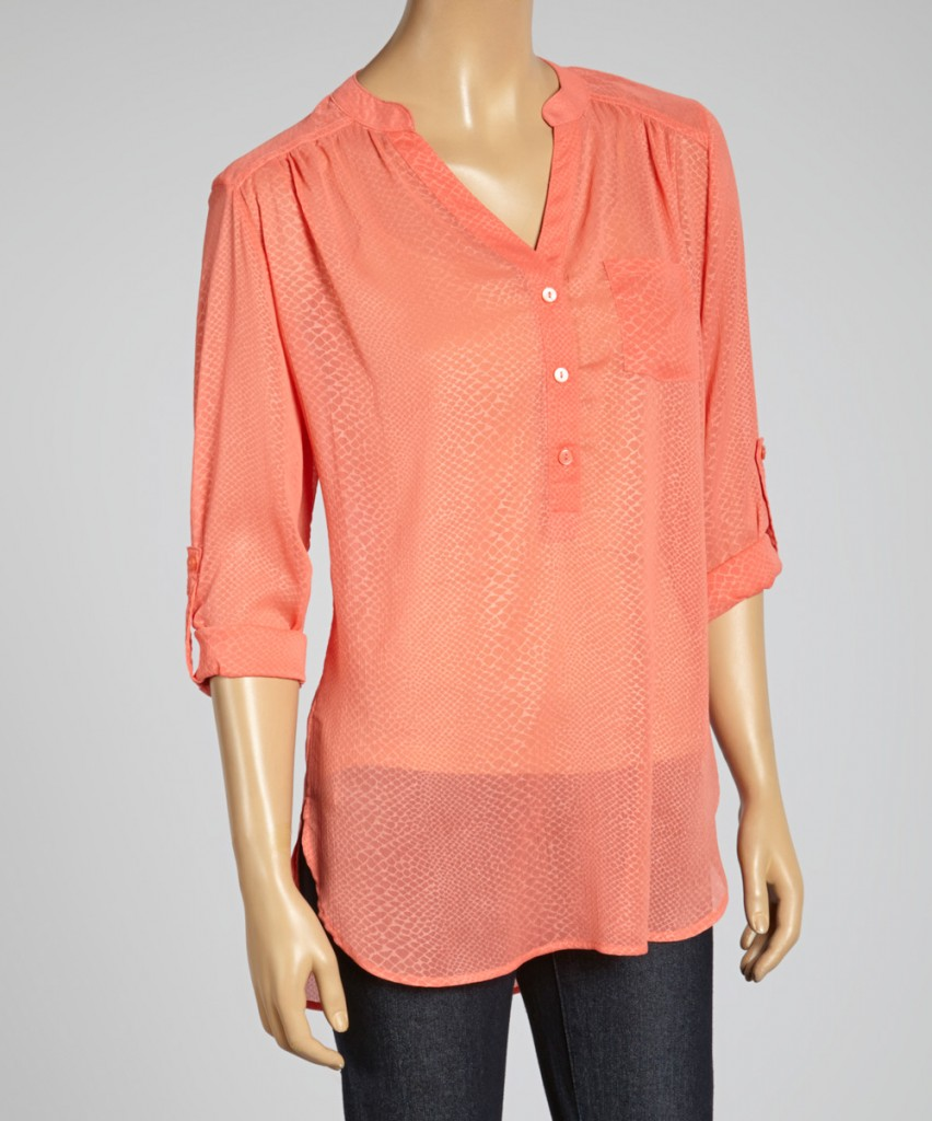Coral Snakeskin TOP Zulily