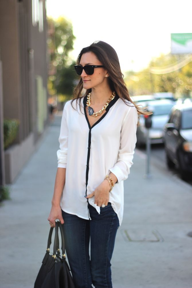 black white trim blouse chunky gold necklace