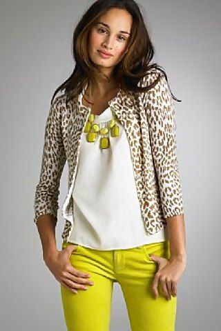 Animal cardi and yellow jeans