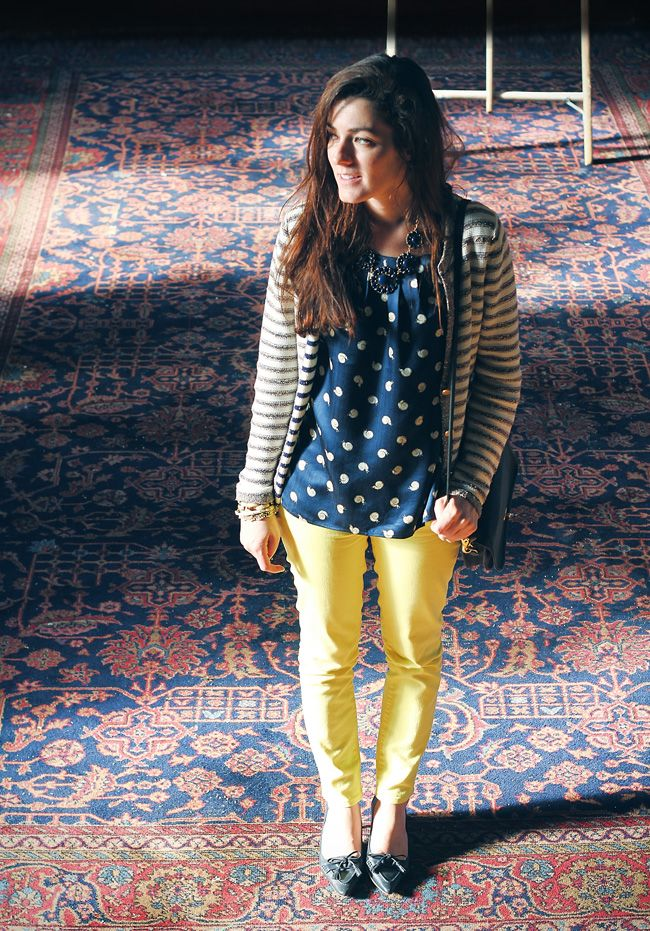Navy and Yellow Jeans