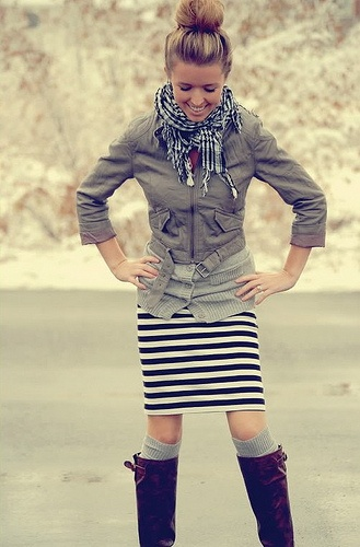 striped skirt jacket boots