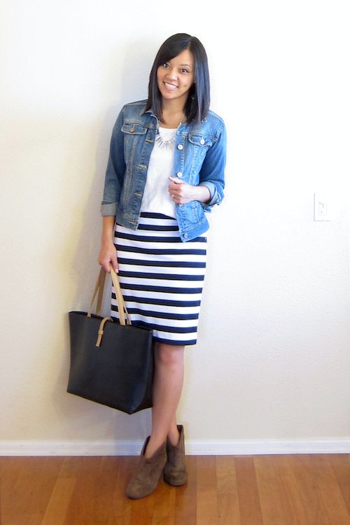 striped skirt with booties