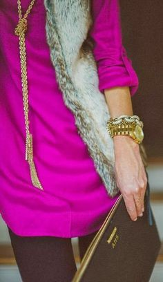 fur vest fuschia top