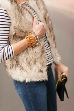fur vest stripes