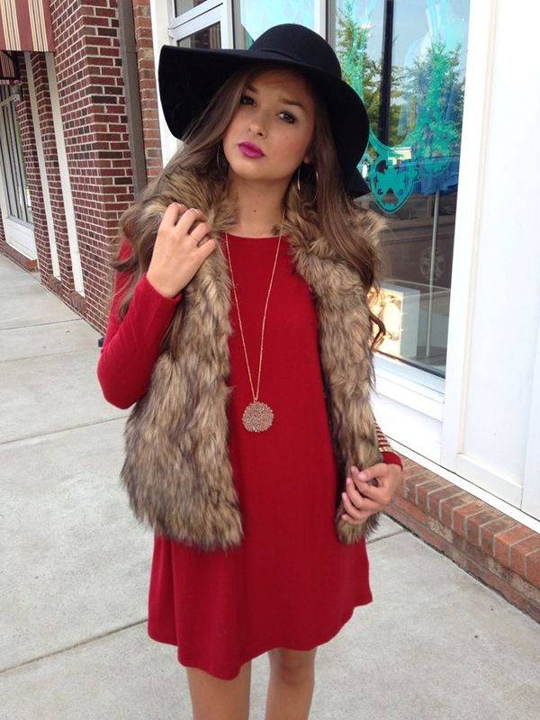 red dress faux fur vest