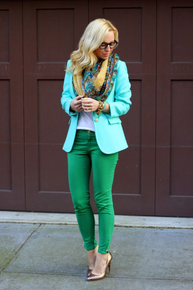 green jeans and mint blazer