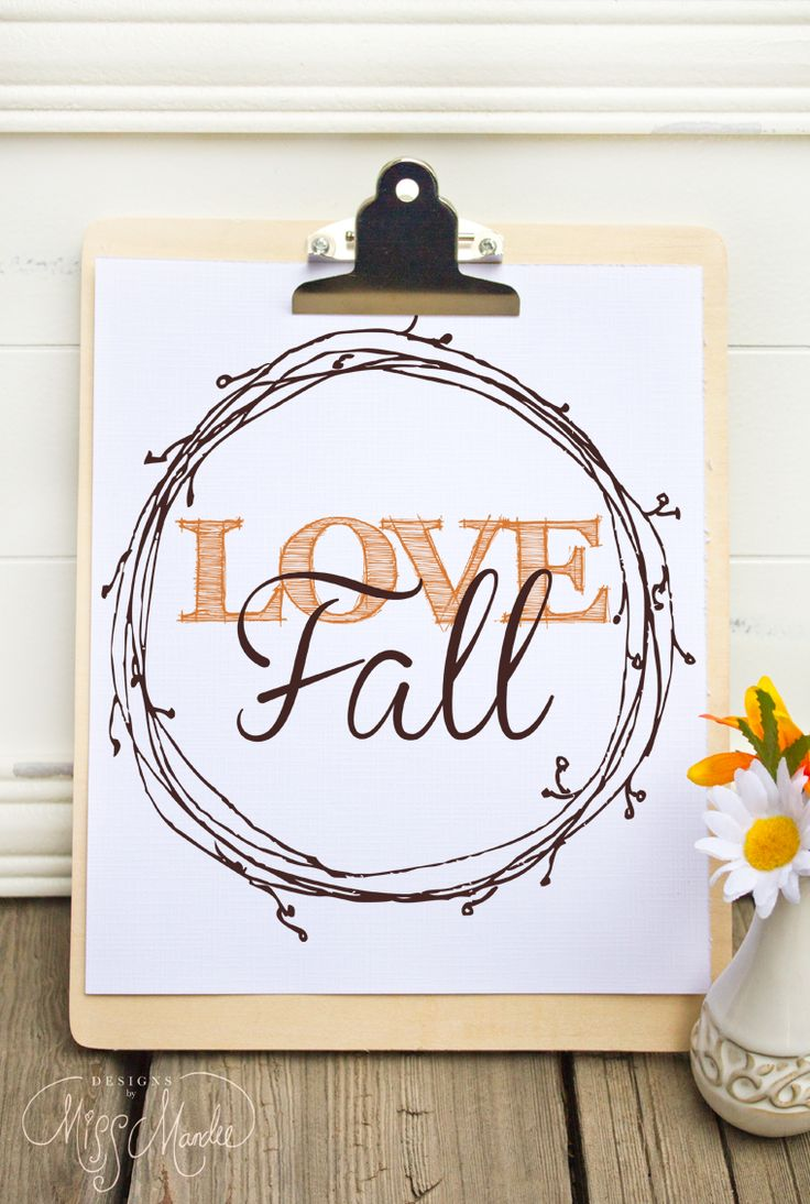 Love fall sign printable