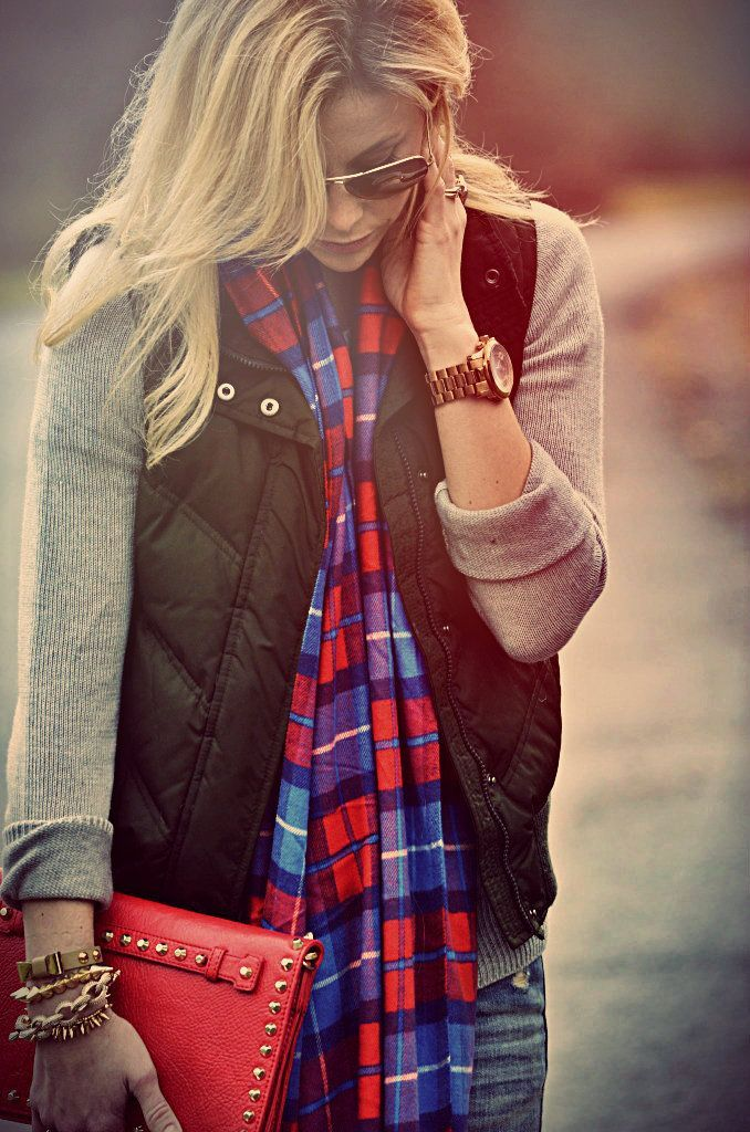 Puffer vest and plaid