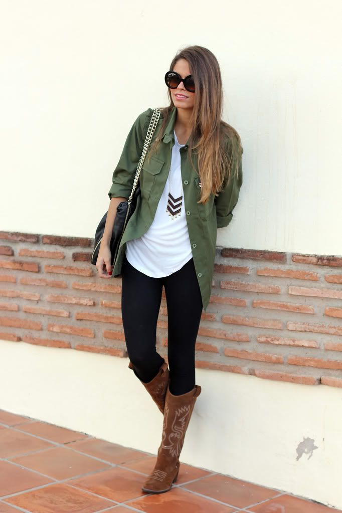 army green jacket and boots