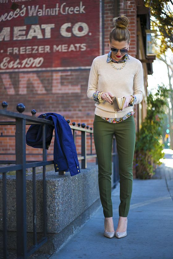 classic pumps and sweater