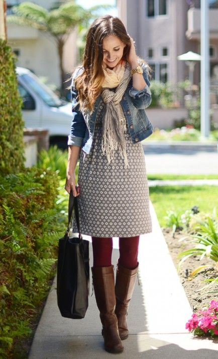 dress with boots and tights