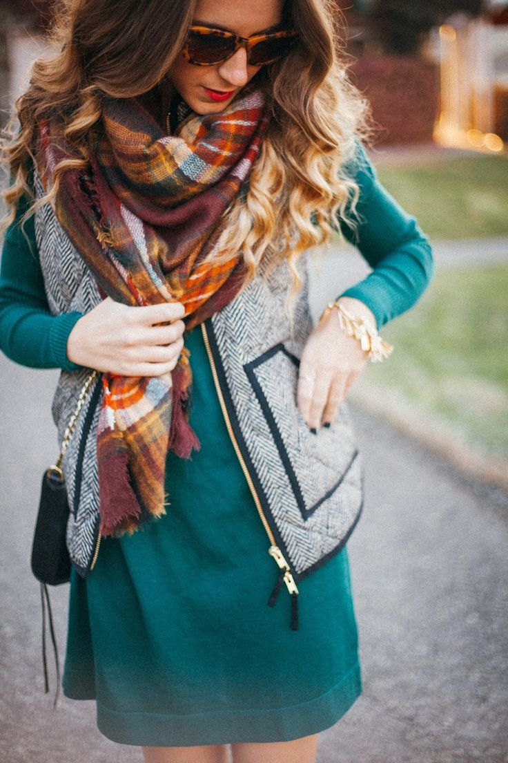 fall scarf over a dress