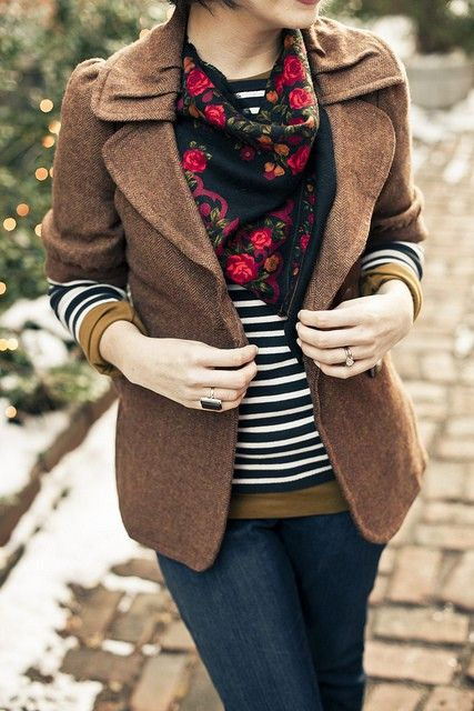 florals, tweed, and stripes fall outfit