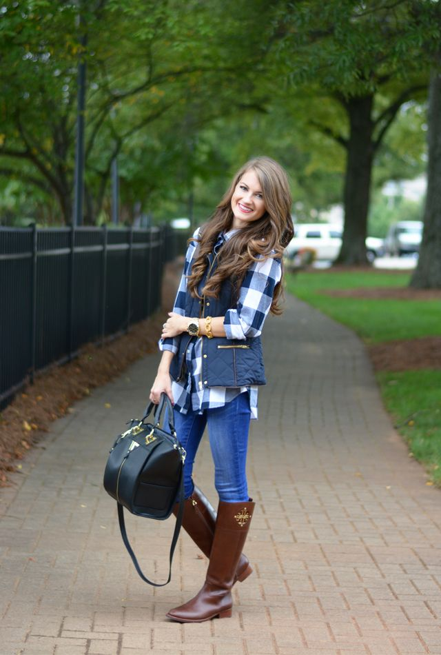 puffer vest with gingham and riding boots