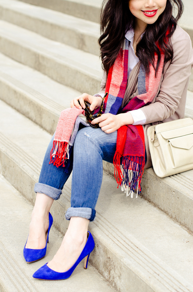 red plaid royal blue outfit
