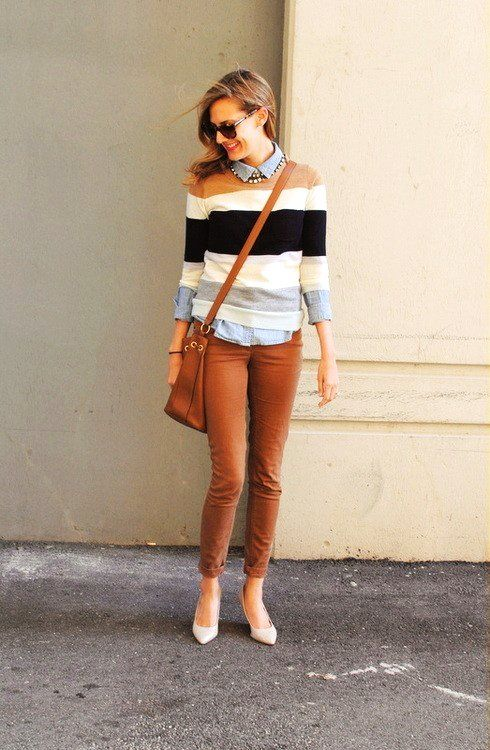 stripes and tobacco brown fall outfit
