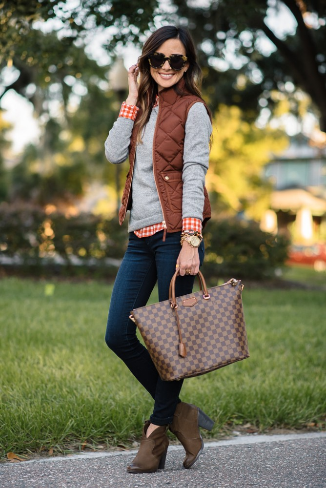 Preppy Brown Vest Outfit Idea