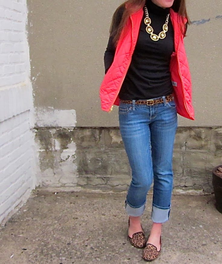 Puffer Vest and Jeans