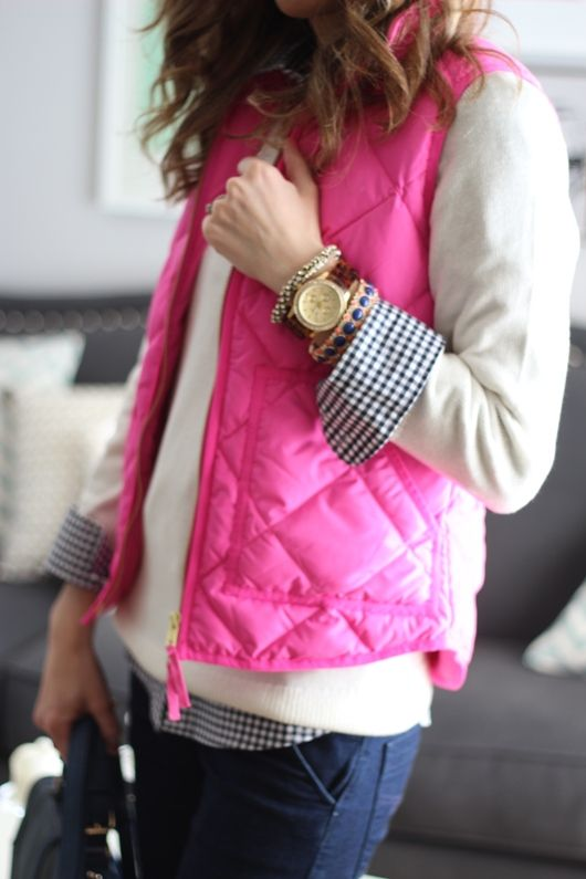 crewneck layered vest preppy