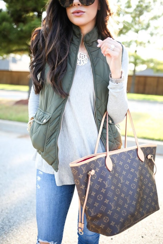 gray tee and preppy vest