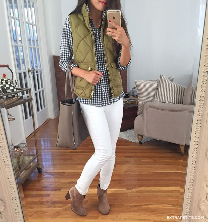 olive vest outfit