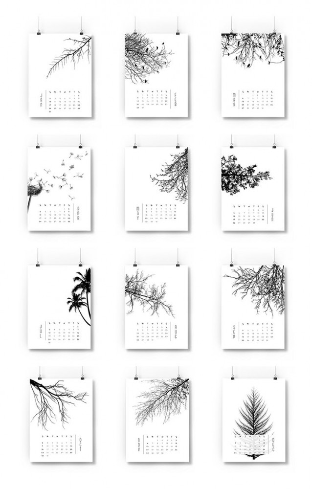 free trees graphic calendar