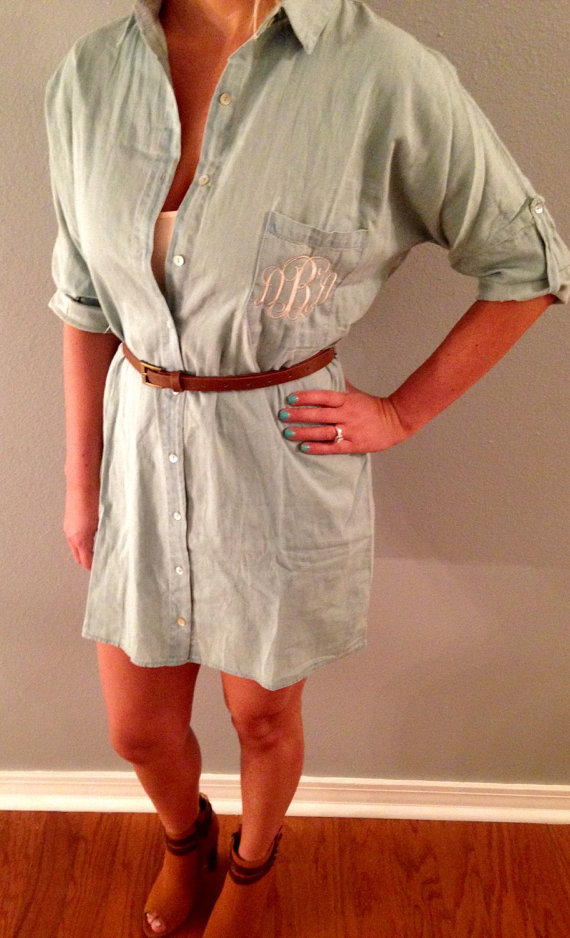 monogrammed denim dress