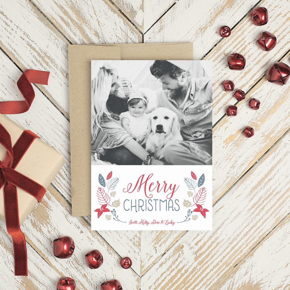Basic Invite Photo Christmas Cards Dog and Baby