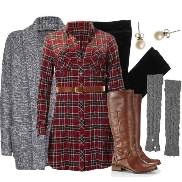 plaid shirt dress leggings