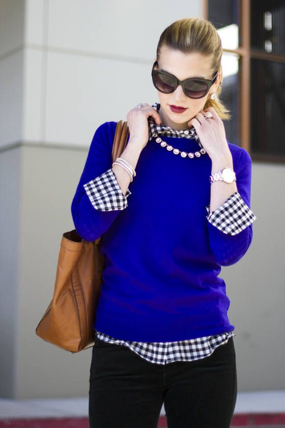 gingham preppy royal blue outfit