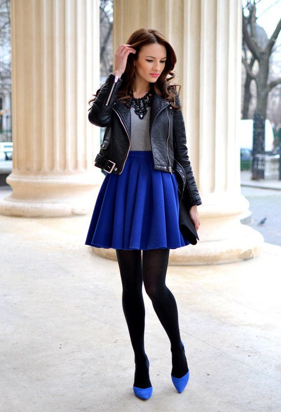 royal blue and black leather jacket